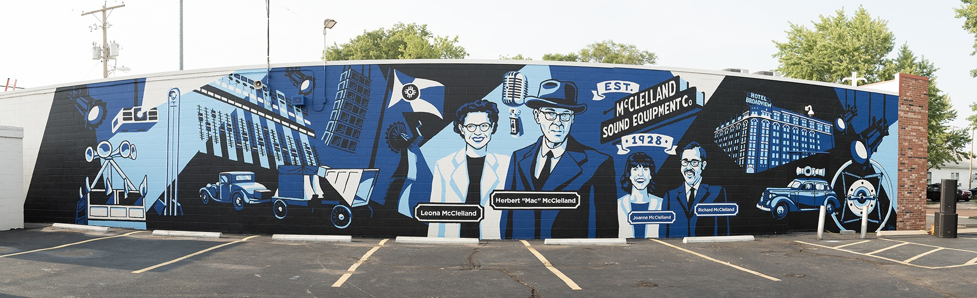 Mural of the history on the McClelland Sound building