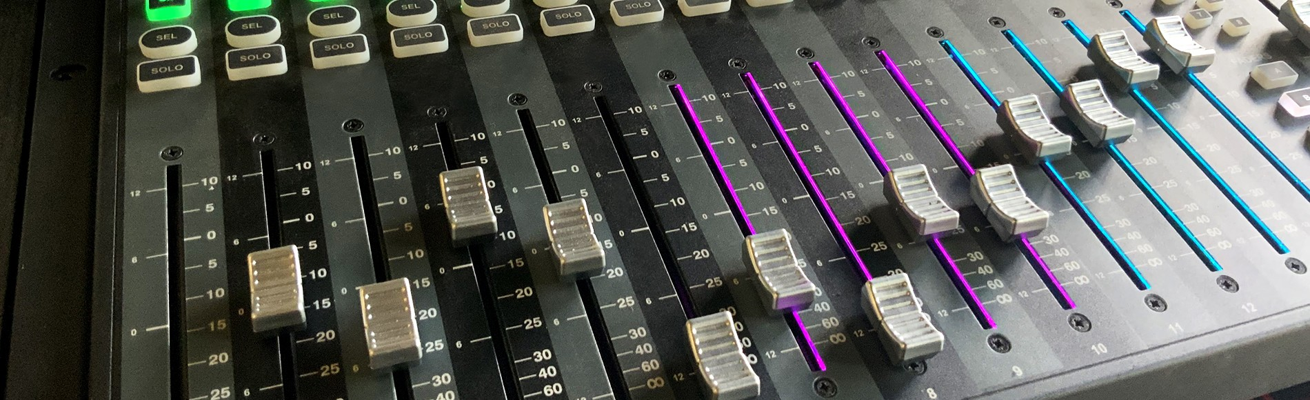 Header image of design page of mixer with lights and sliders